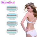 4pcs/lot Replaceable Razor Blades For Women Shaving 3 Layers Shave Blades For Razor Epilation Personal Care Body Hair Trimmer