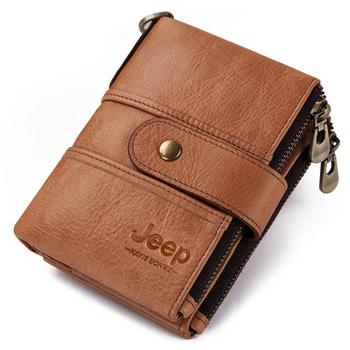 100% Genuine Leather Rfid Wallet Men Crazy Horse Wallets Coin Purse Short Male Money Bag Mini Walet High Quality Boys 25