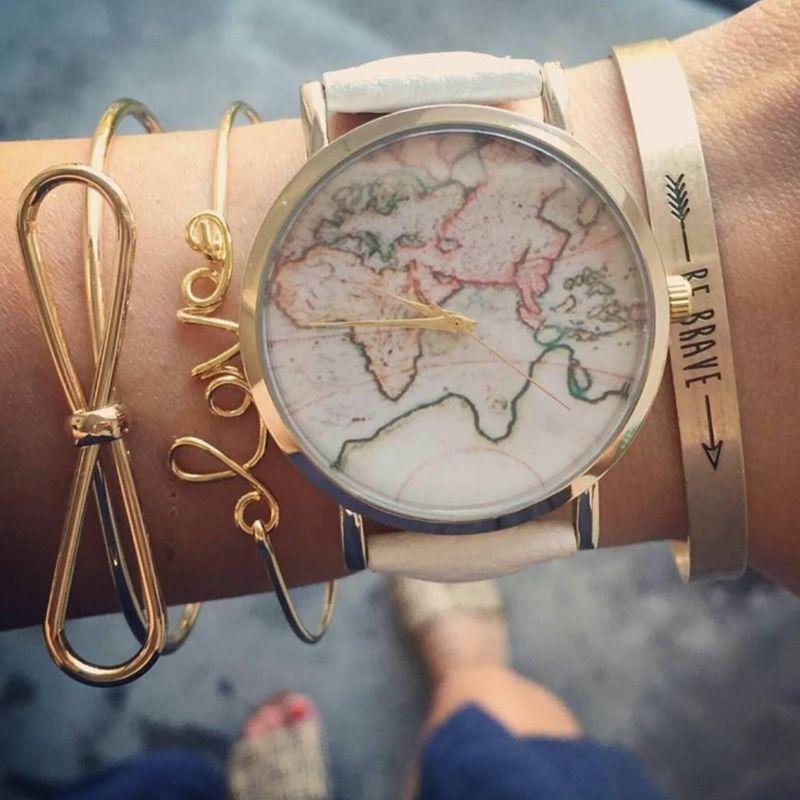 3 Pcs/set Brief Gold Color Cuff Bracelet Bangles For Women Bowknot Letters Arrow Adjustable Open Charms Bracelet