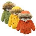 Los niños de Invierno gruesa chaquetas Niñas niños Abrigos Con Capucha Cuello de Piel Sintética Niños Prendas de abrigo de Algodón Acolchado Bebé Niña Niño Traje Para La Nieve