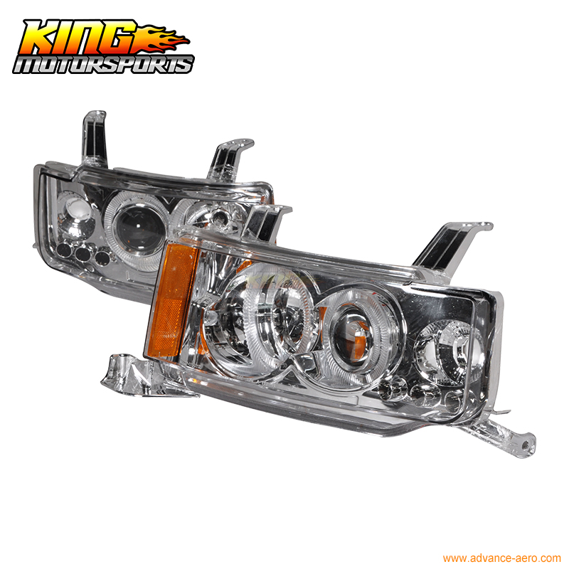 For 03 04 05 06 07 Scion xB LED Halo Projector Headlights Chrome Pair USA Domestic Free Shipping