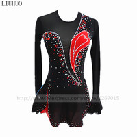 Figure Skating Dress Women's Girls' Ice Skating Dress Red and black collocation Round collar long sleeved style Fine drill