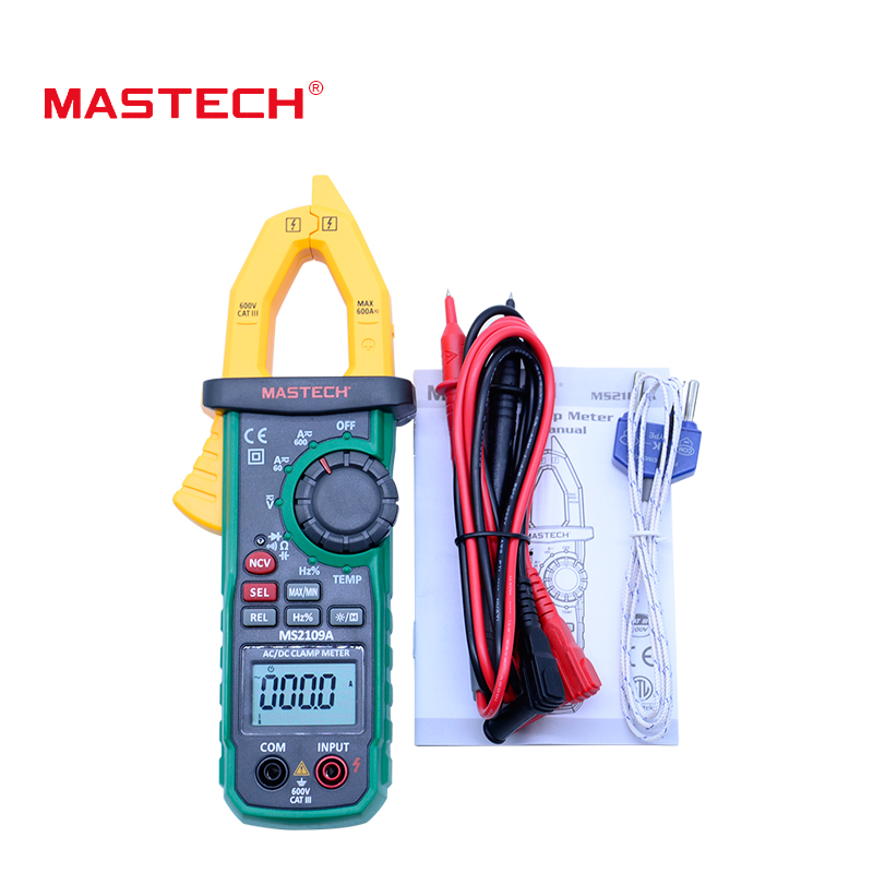 Clamp Meter Mastech MS2109A Auto Range Digital AC DC  600A Multimeter Volt Amp Ohm HZ Temp Capacitance Tester NCV Test aimo m320 pocket meter auto range handheld digital multimeter
