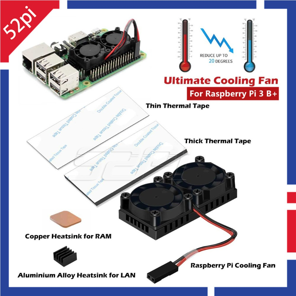 52Pi Newest Version! Dual Fan Heatsink with Double Cooling Fans For Raspberry Pi 3 Model B Plus, Does Not Fit NESPi CASE abs case with cooling fan heatsink removable top cover