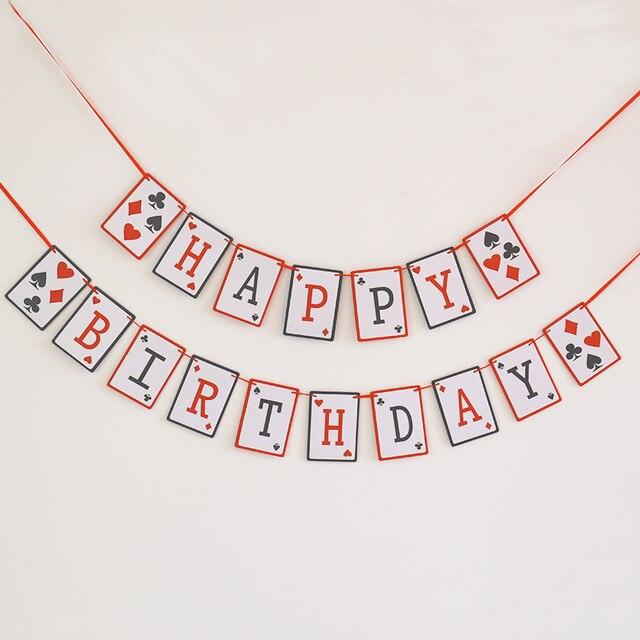 Happy birthday Banner, Casino birthday Garland, 21st party decor ...