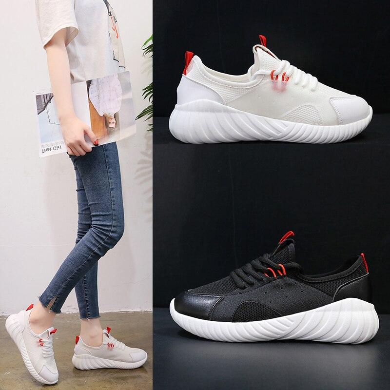 068a4025a28d0 Zapatos Feminino blanco 2018 Antideslizante Transpirables Zapatillas Negro Casual  Mujer Primavera Lace Tenis Amortiguación Moda Kjstyrka Mujeres ...
