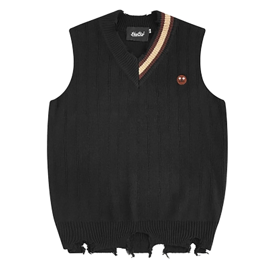 Oversize korean sweater vest men hip hop corean knitwear mens designer cashmere winter casual jumper ropa