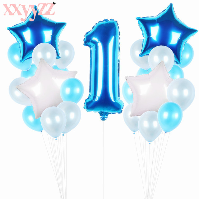 XXYYZZ My First Birthday Air Number Foil Balloons Air Baby Shower Boy 1st Birthday Party Decorations Kids Party Balloons Kit Sky