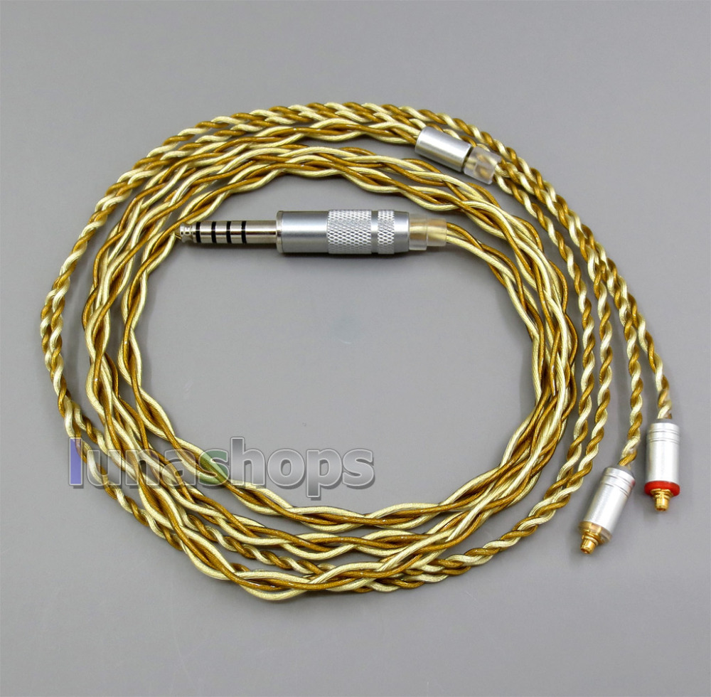 Extremely Soft 7N OCC Pure Silver + Gold Plated Mixed Earphone Cable For Shure se535 se846 se425 se215 MMCX LN005971 l shape 3 5mm 16 cores occ silver plated mixed headphone cable for shure se215 se315 se425 se535 se846