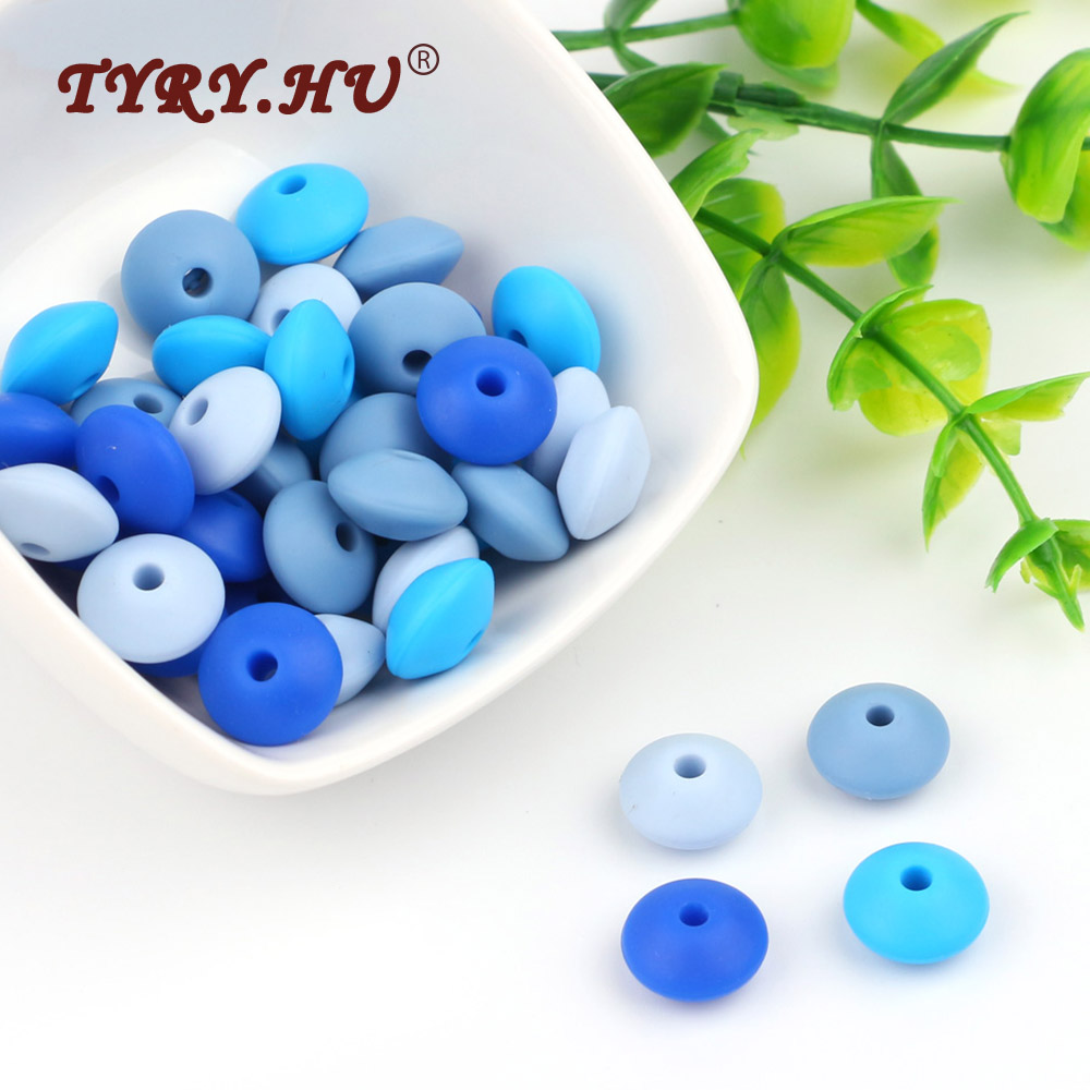 TYRY.HU Food Grade 30Pcs Lentil Silicone Beads BPA Free Baby Teething DIY Charming Jewelry Bracelet Crib Toy Silicone Teether