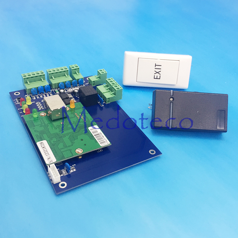 ФОТО Free Shipping One Door Access Control Panel+1 PC RFID Reader + 1 PC exit button rfid Access Control System L01