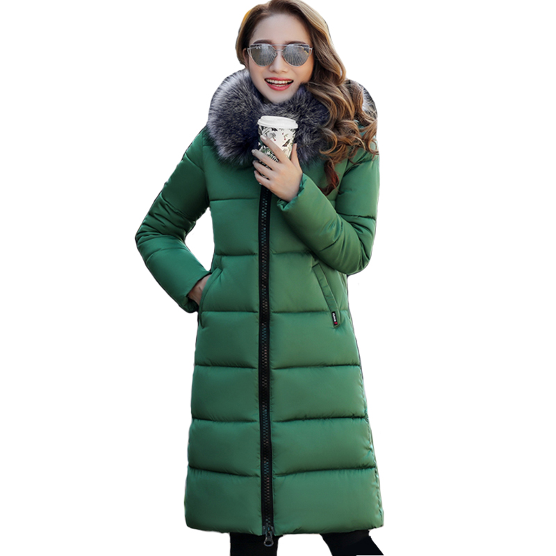 Big Fur Collar Women Winter Jacket Long Cotton Padded Warm Thicken Female Coat Parka Parkas Outwear High Quality Casaco hooded long printing casaco feminino inverno 2017 warm thicken cotton padded winter jacket women female coat parka women s
