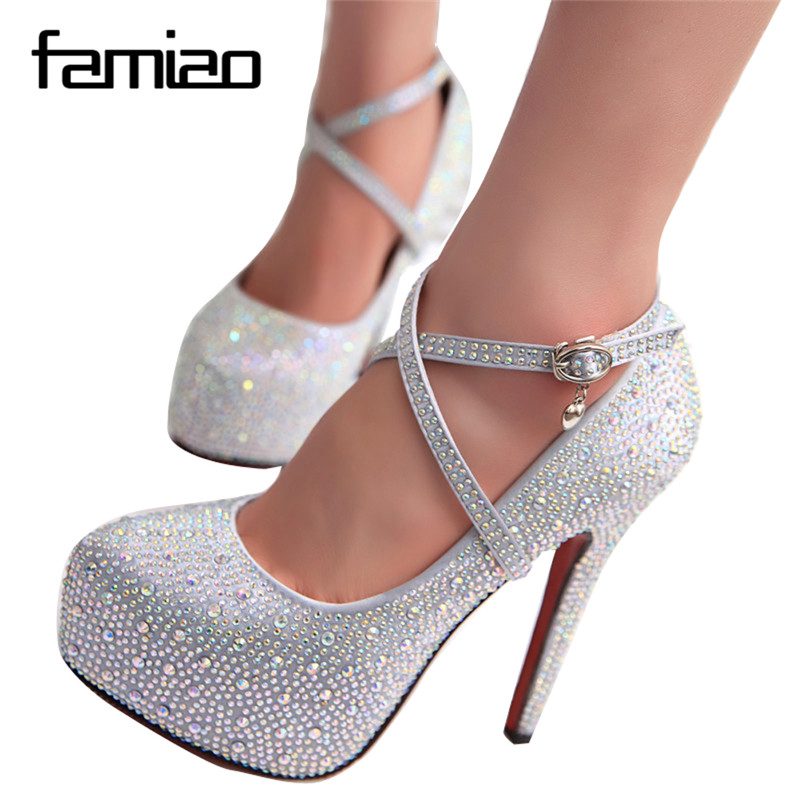 2016 women high heels prom wedding shoes lady crystal platforms silver Glitter rhinestone bridal shoes thin heel party pump free shipping sparkly silver crystal and rhinestone high heels with spikes ultra high heels shoes for wedding party prom