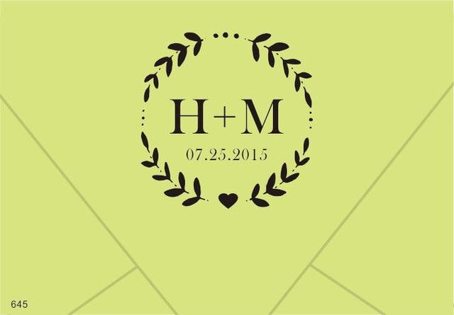 Custom Wedding Rubber Stamp Name Date Custom Monogram Initial Stamp