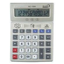 Guangbo Electronic Calculator Big Buttons Voice LCD Screen 12 Digits Financial Tool High Quality Calculadora NC-1684