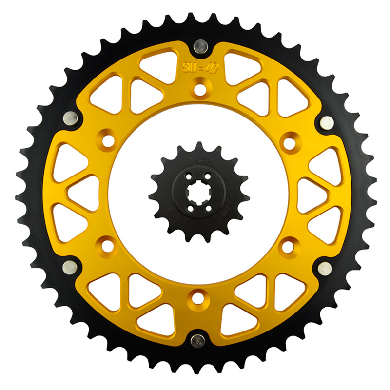 ФОТО Motorcycle Parts 49-15 T Front & Rear Sprockets Kit for SUZUKI TS200R TS 200R TS200 TS 200 R 1989-1994 Gear Fit 520 Chain