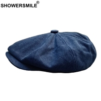 SHOWERSMILE Mens Newsboy Caps Cotton Spring Autumn Octagonal Hat Male High Quality Dark Blue Flat Cap Solid Vintage Painter Hat