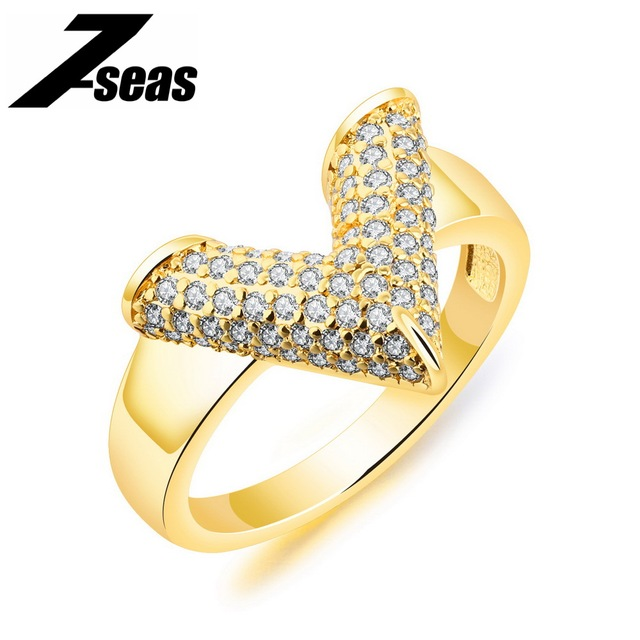 7SEAS Luxury Gold Color Finger Ring V Design Cubic Zirconia Micro Paved Female Party Bands Baridal Bridesmaids Jewelry   JM074