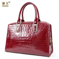 Gorgeous Substantial Sturdy Women Bag Expensive Crocodile Cowhide Leather Tote Handbag High Quality Wine Luxurious Bag Wine