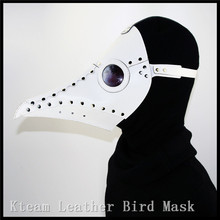Hot NewWhite PU Leather Steampunk Steam Punk Gothic Bird Beak Mask Goggles Plague Doctor Cosplay Hood Hallowee Role Play Costume