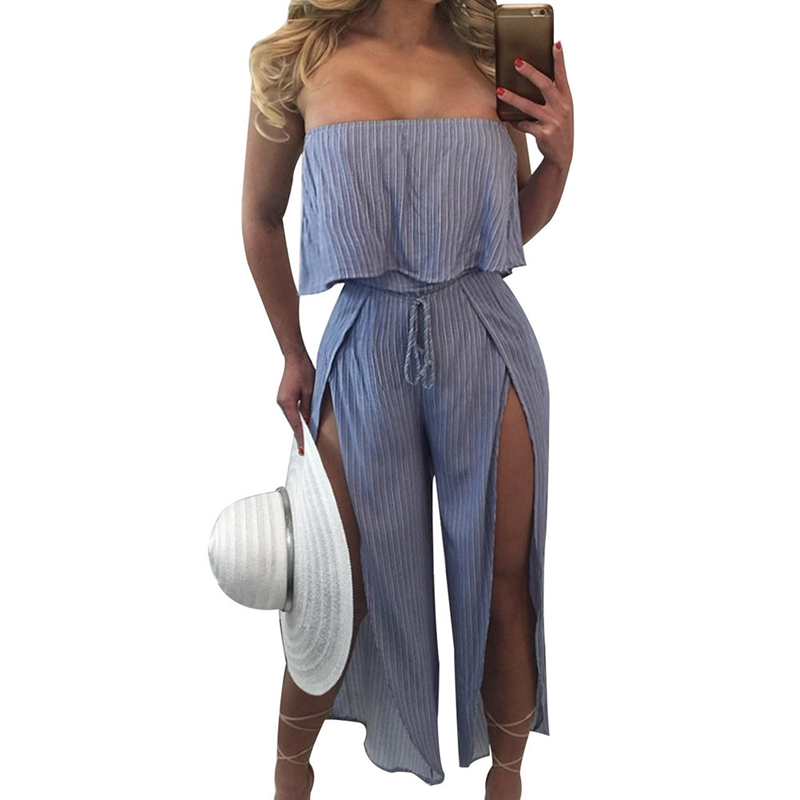 Flounce Sexy Flounce Culotte Jumpsuit Women Off Shoulder Self Tie Yellow Jumpsuits 2018 New Ruffle Half Sleeve Elegant Jumpsuit