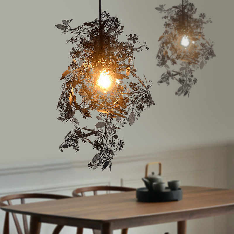 Modern Pendant Light Stainless Steel Suspension Lamp Black White Gold Silver Colors Design Laser Cutting Carved Flowers E049