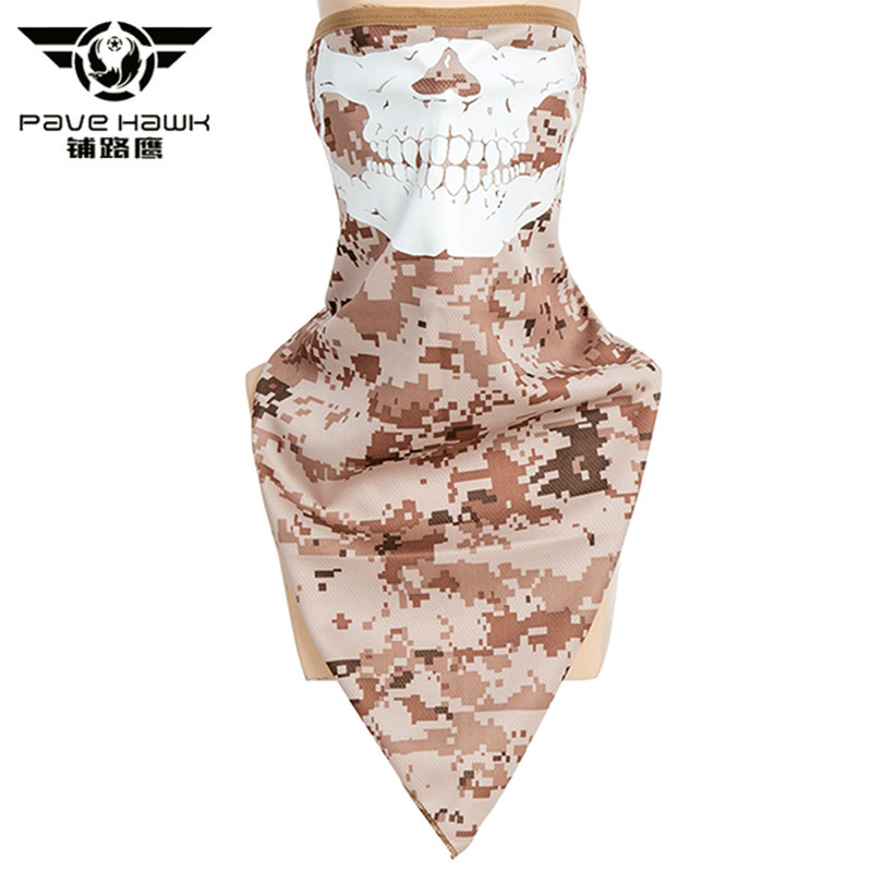 Pave Hawk Army Tactical Skull Camouflage Mask Fluorescence Reflective Paintball Scarf Military Motorcycle Windproof Face Mask