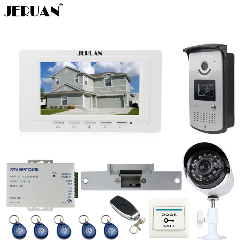 JERUAN White 7`` Video Door Phone Intercom System kit RFID Access Camera+700TVL Analog Camera+remote control+E-lock+Exit button jeruan home 7 video door phone intercom system kit 1 white monitor metal 700tvl ir pinhole camera rfid access control in stock