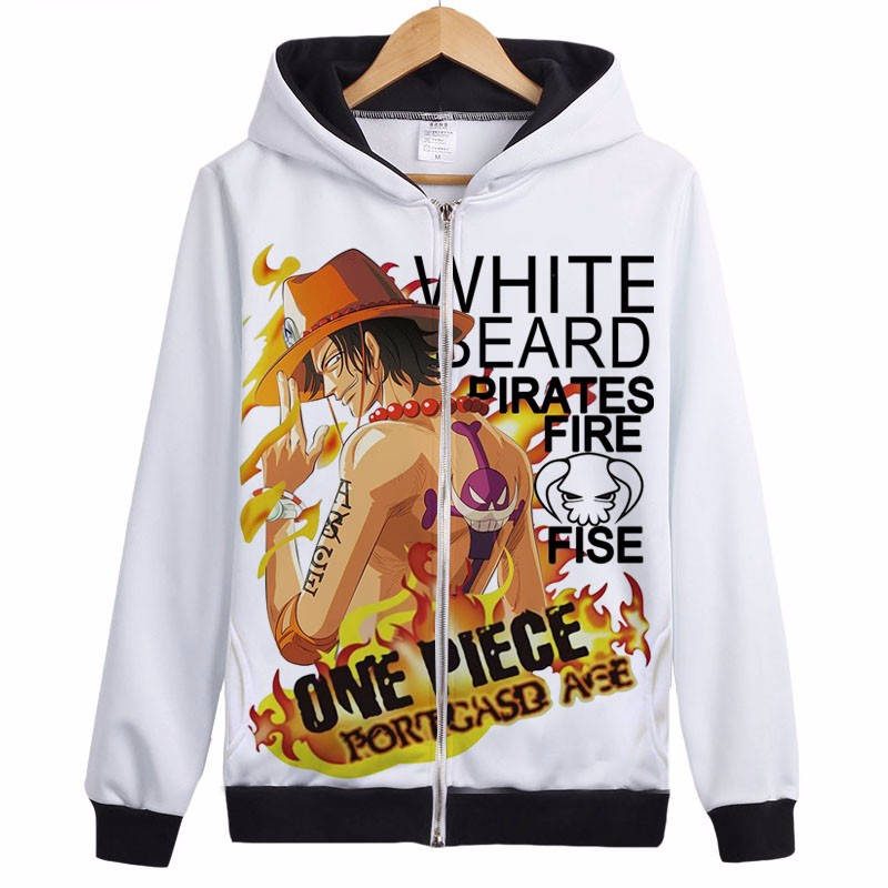 Anime One Piece Clothing Fire Fist Ace Hooded Sweatshirt Cosplay Hoodie 5 Size