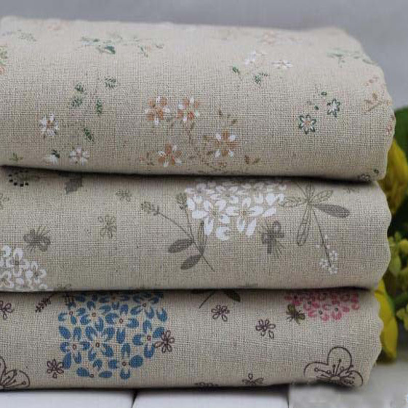 "Promotion! 3 Designs Cotton Linen Fabric ""Dandelion & Chrysanthemum"" Fat Quarter Bundle Tilda Quilting 24CMx24CM/Piece"