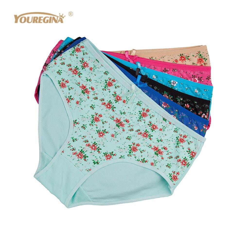 YOUREGINA Women   Panties   Cotton Plus Size High Waist Print   Panties   Women's Floral Lingerie Briefs Ladies Under Wear 6pcs/set