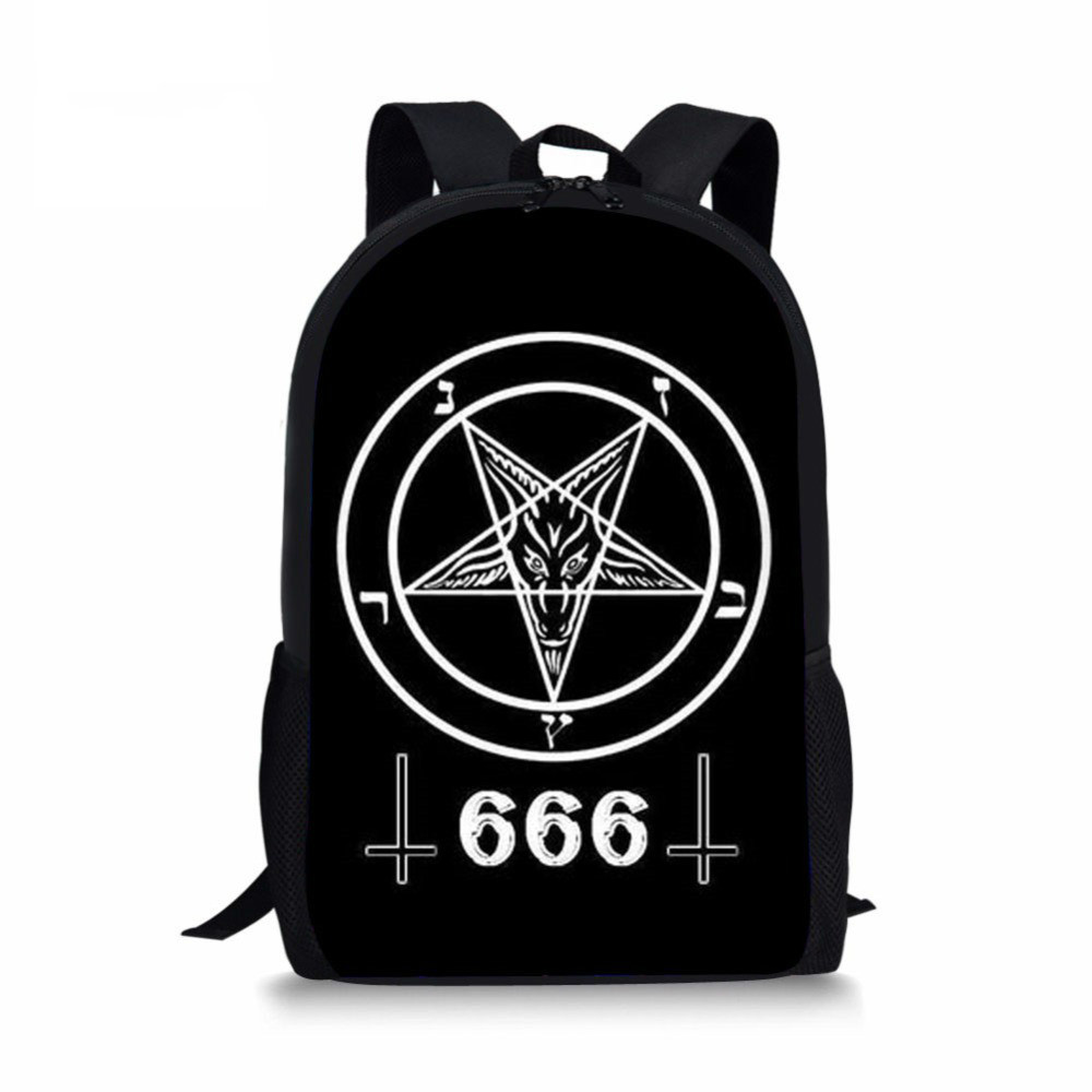THIKIN School <font><b>Bags</b></font> for Boys Girls Black Cat 666/Hail Satan Printing Students Backpacks Schoolbag Kids <font><b>Mochila</b></font> <font><b>Escolar</b></font> Bookbag image