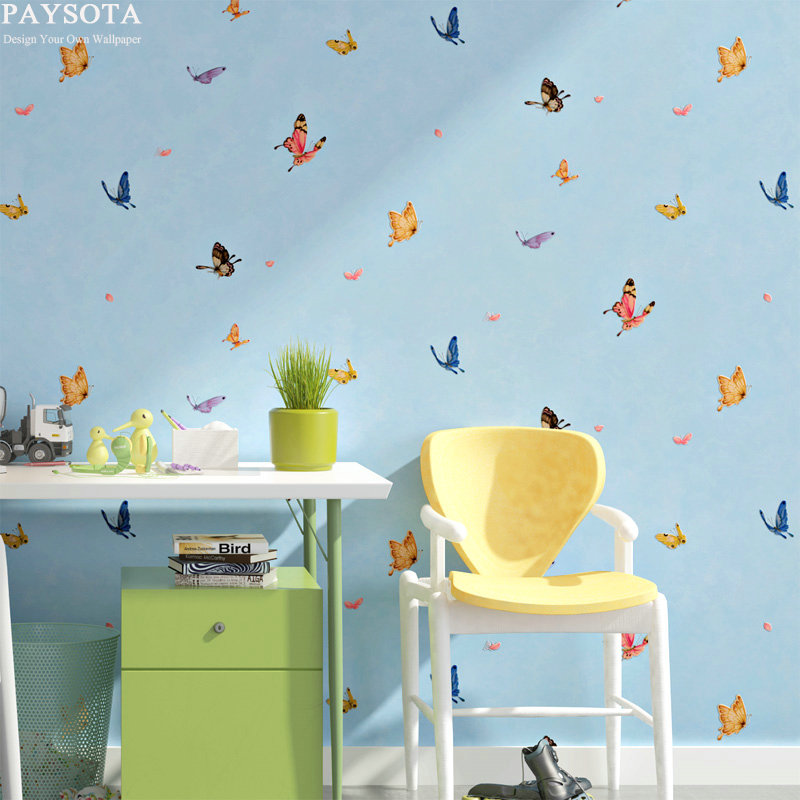 Papel Pintado Photo Wallpaper Paysota Children Room Wallpaper Boy Girl Bedroom Cartoon Butterfly World Embossing Wall Paper paysota cartoon castle children room wallpaper princess girl bedroom lovely pink household wall paper roll