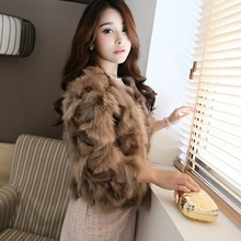Free shipping New Women's Real Fox Fur coat Fashion Design Ladies' Luxury High Quality O-Neck 3/4 Sleeve short Fox Fur Jackets