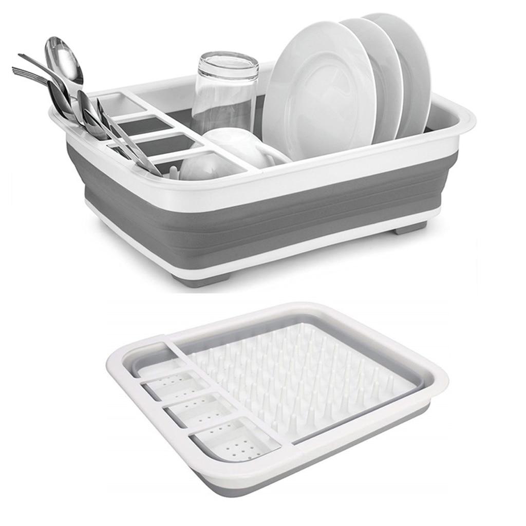 Folding Plate Rack Kitchen Dish Rack Drain Bowl Plate Tableware Holder Portable Drying Rack Home Shelf Dinnerware Organizer