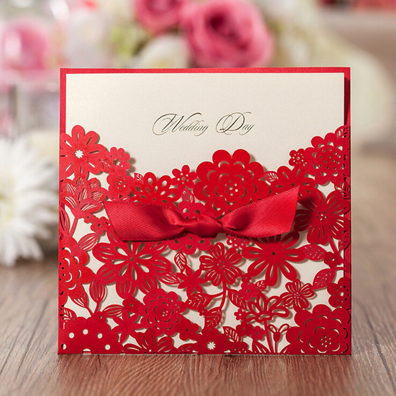 100pcs Hot Fashion Laser Cut Red Hollow Heart Design Wedding