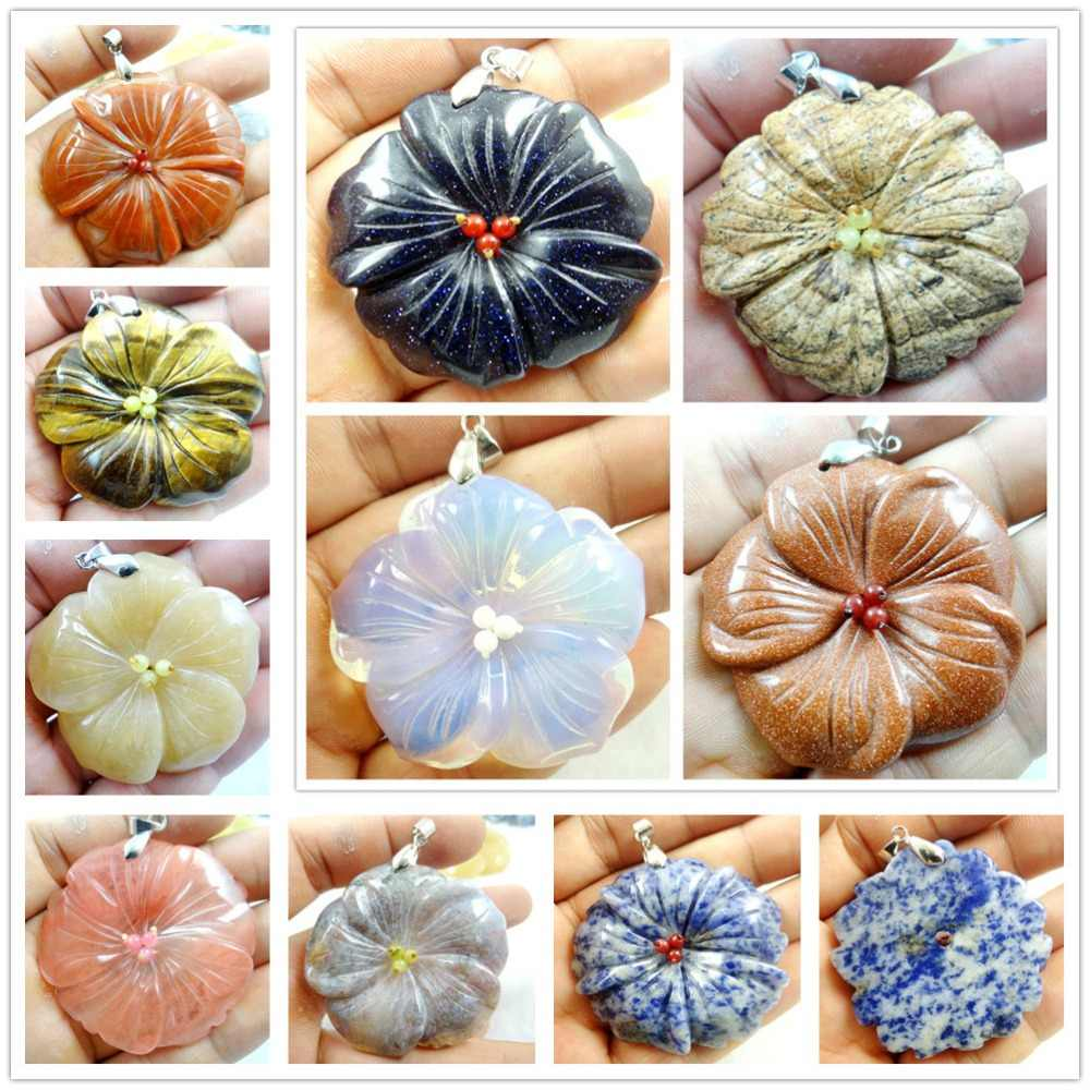 Natural stone Quartz Crystal lapis Turquoises tiger eye flower pendants for diy Jewelry making necklace Accessories A1