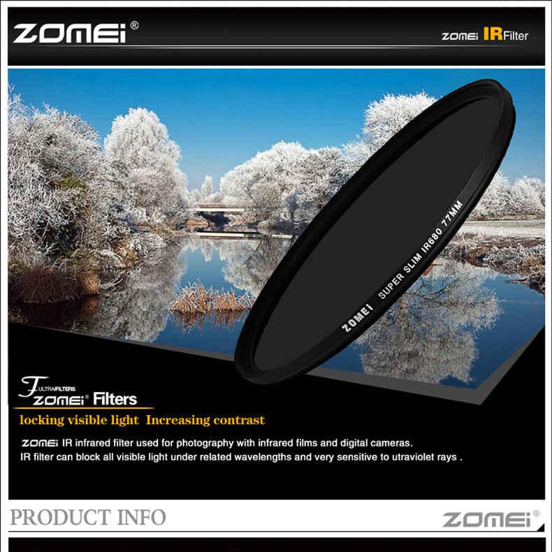 Zomei Infrared 680nm IR filter 720nm 760nm 850nm 950nm IR filter 37mm 49mm 52mm 58mm 67mm 72mm 82mm untuk DSLR kamera SLR lensa