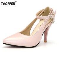 גודל 28-52 נשים משאבות הבוהן מחודדת TAOFFEN אבזם אישה נעלי נשות עקבים גבוהים רצועת קרסול נעלי Zapatos Mujer PA00908