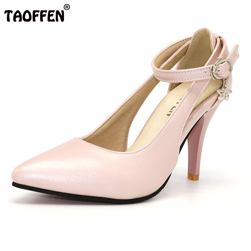 TAOFFEN Size 28-52 Women Pumps Pointed Toe Ladies Shoes Woman Buckle Ankle Strap High Heels Zapatos Mujer Footwear PA00908 lankarin brand 2017 summer woman pointed toe flats ladies platform fashion rivet buckle strap flat shoes woman plus size