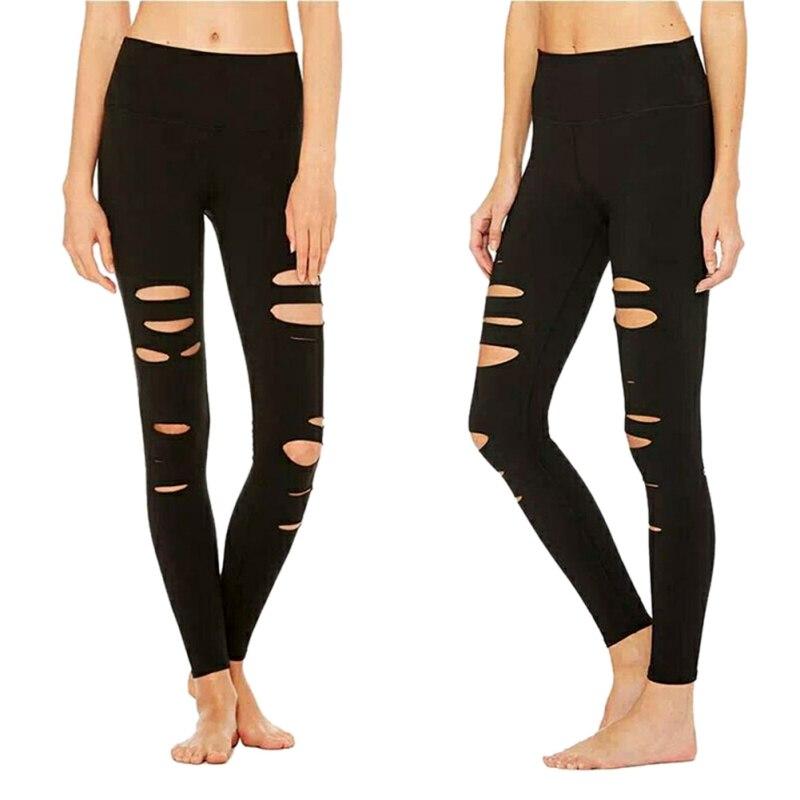 Female Quick-drying Carry Buttock   Leggings   Cut Out Slim Stretch Punk   Leggings   Ripped Hole   Legging   Black Slit   Leggings