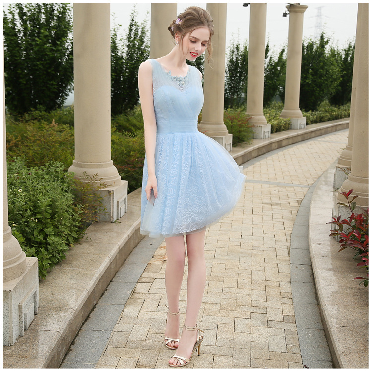 Vestidos De Festa Baby Blue Tulle V-Neck Pleated Beading Appliques Lace A-Line Mini   Bridesmaid     Dresses   Short Prom Party Gowns