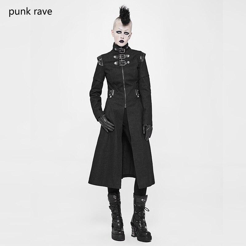 PUNK RAVE Steampunk Rock Black long women jacket coat Gothic Fashion Handsome Motorcycle Military Women Long Coat