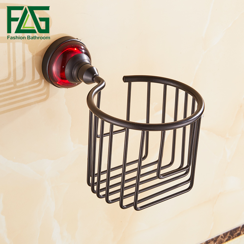 FLG Paper Holders Black Bathroom Basket Red Crystal Glass Tissue Holder Space Aluminum Wall Mounted Bathroom