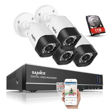 SANNCE 4CH 1080N CCTV DVR 720P CCTV Security System 1TB HDD 1500TVL home Surveillance Cameras Kit Email Alert