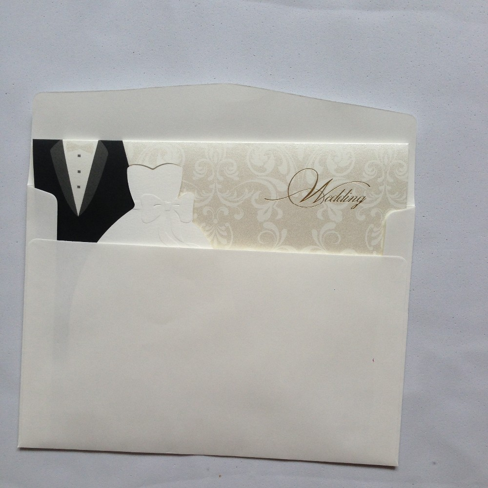 2017 Wholesale 1000pcs/lot Wedding Invitation Bride And Groom Dress ...