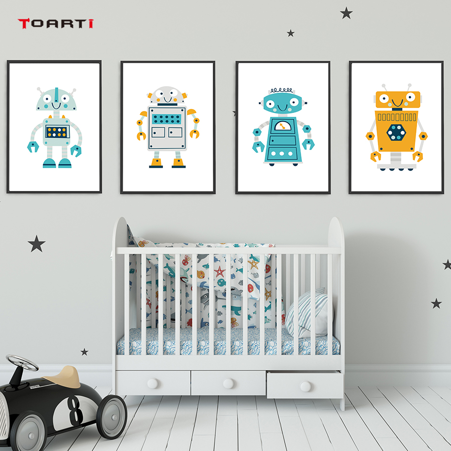Creative Cartoon Robot A4 Canvas Art Painting Print And Poster Wall Art Pictures For Boys Baby Children's House Home Decoration