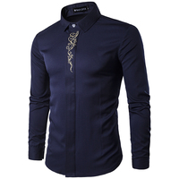 Men Shirt New Summer Fashion Brand Men Clothes Slim Fit Men Long Sleeve Shirt Embroidery Men