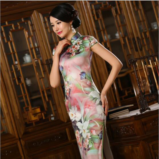 78d3e0552 S-3XL Chinese Women's Satin Cheongsam Vintage Qipao Silk Long Dress China  Oriental Dresses Mother