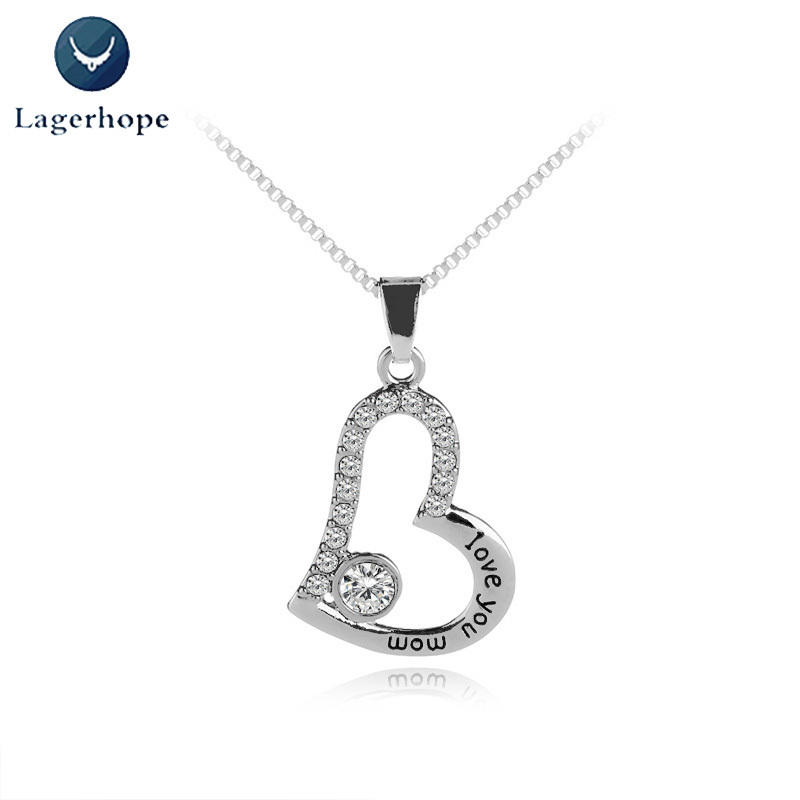 Hot Sale Crystal Necklace Heart Pendant Cubic Zircon I Love You Mom Letter Slide Pendant Adjustable Length Necklace Jewlery